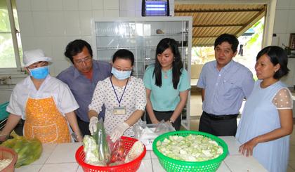 Đoàn kiểm tra lấy mẫu rau, củ, quả để kiểm tra dư lượng thuốc Bảo vệ thực vật.