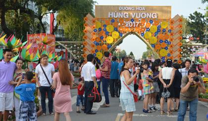 Rất đông người dân vào tham quan đường Hoa năm nay.